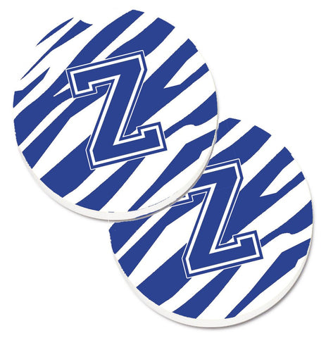 Buy this Monogram Initial Z Tiger Stripe Blue and White Set of 2 Cup Holder Car Coasters CJ1034-ZCARC