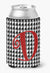 Letter D Initial Monogram - Houndstooth Black Can or Bottle Beverage Insulator Hugger by Caroline's Treasures
