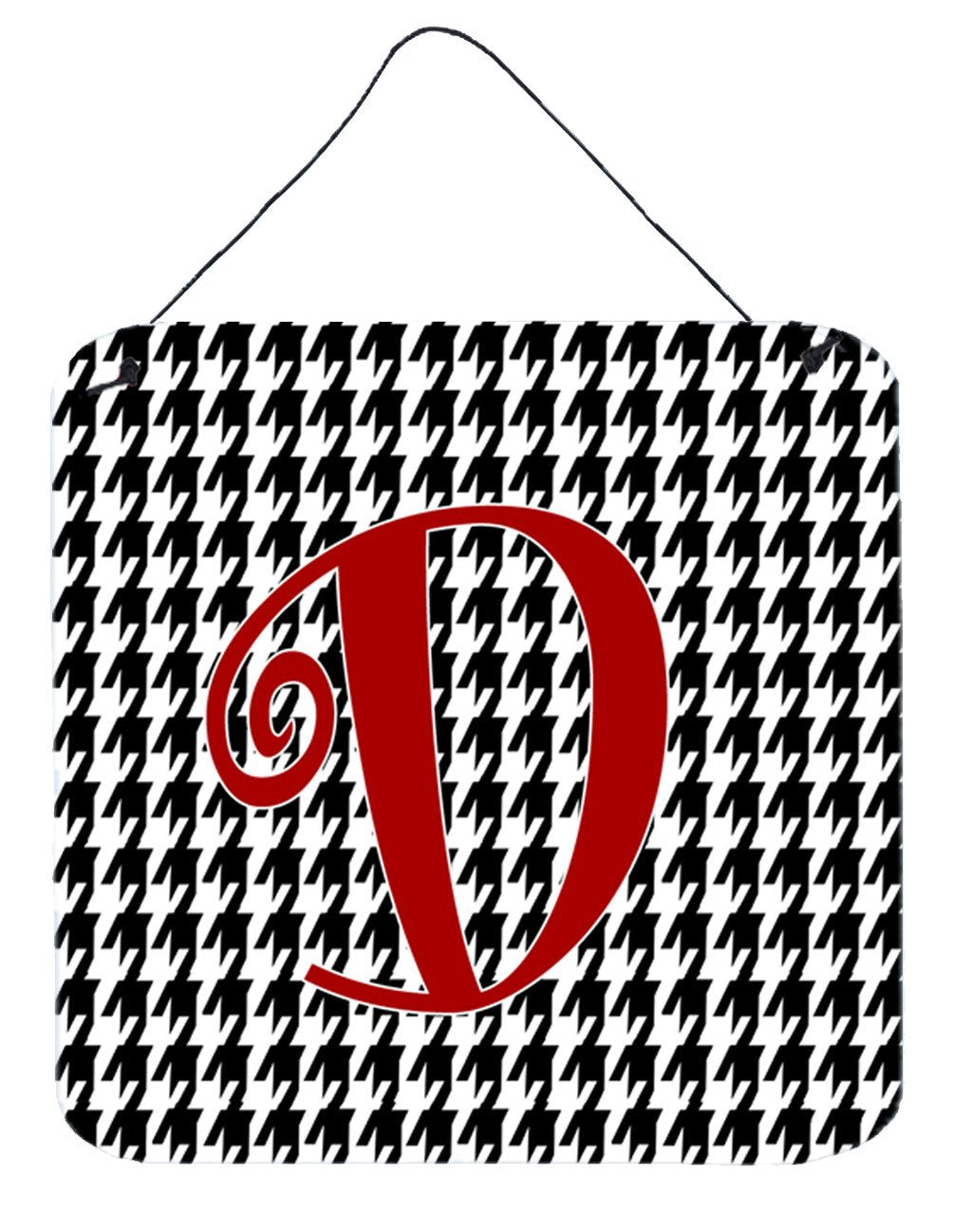Letter D Initial Monogram - Houndstooth Black Wall or Door Hanging Prints by Caroline's Treasures