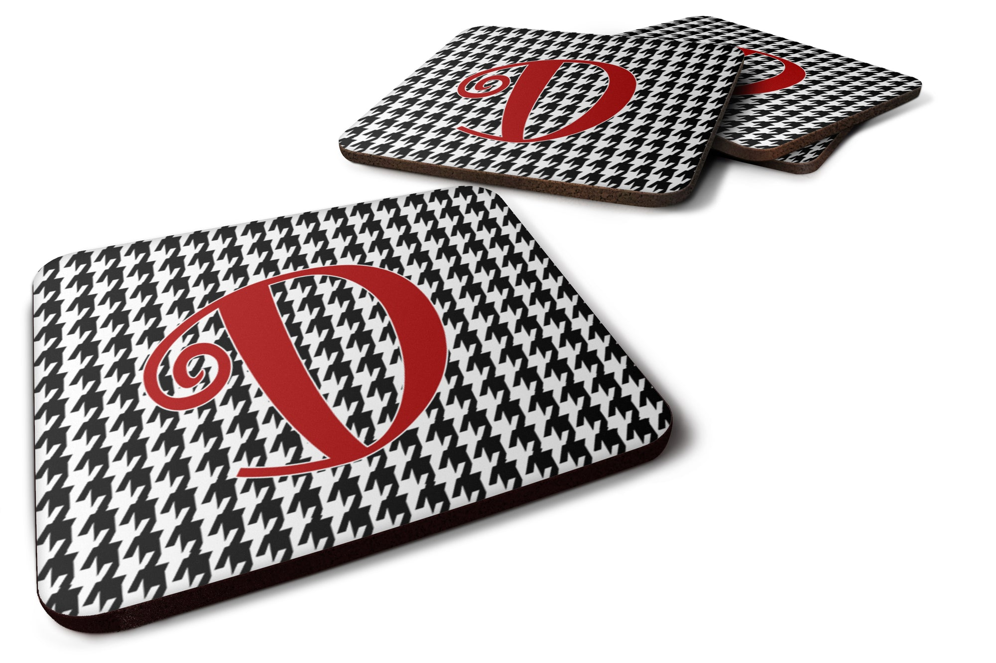 Set of 4 Monogram - Houndstooth Black Foam Coasters Initial Letter D by Caroline's Treasures