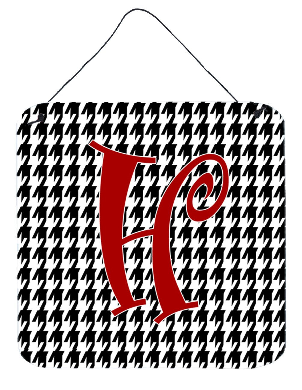 Letter H Initial Monogram - Houndstooth Black Wall or Door Hanging Prints by Caroline's Treasures