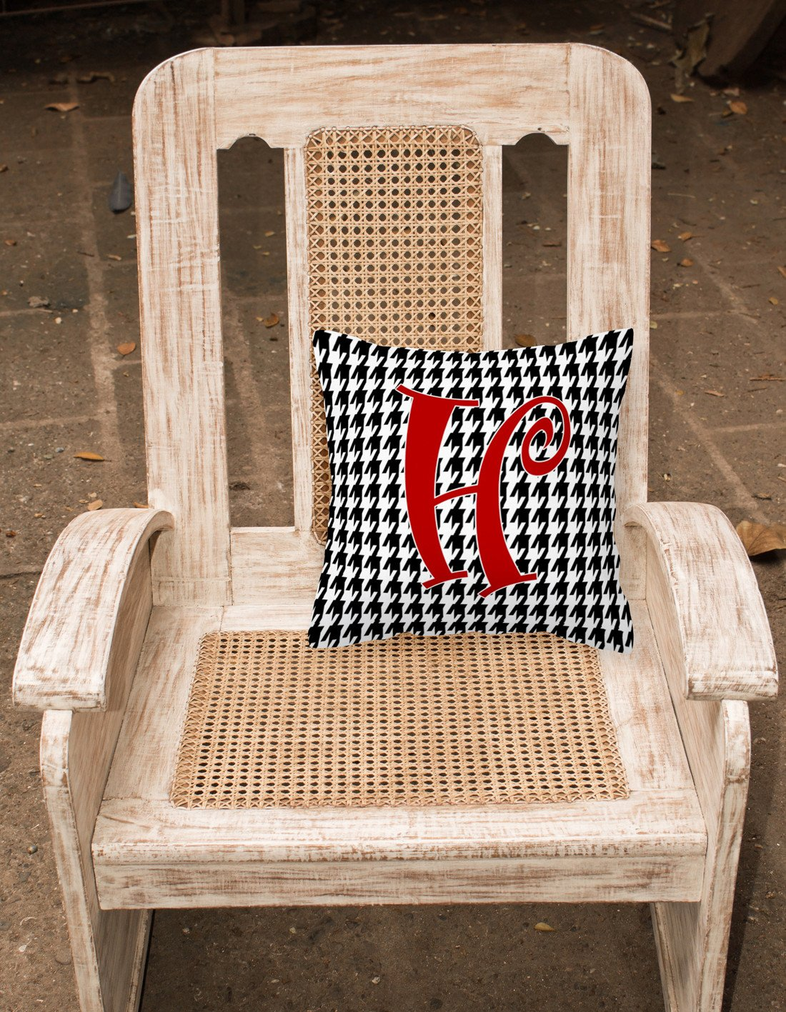 Monogram Initial H Houndstooth Black Decorative   Canvas Fabric Pillow CJ1035 - the-store.com