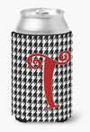 Buy this Letter T Initial Monogram - Houndstooth Black Can or Bottle Beverage Insulator Hugger