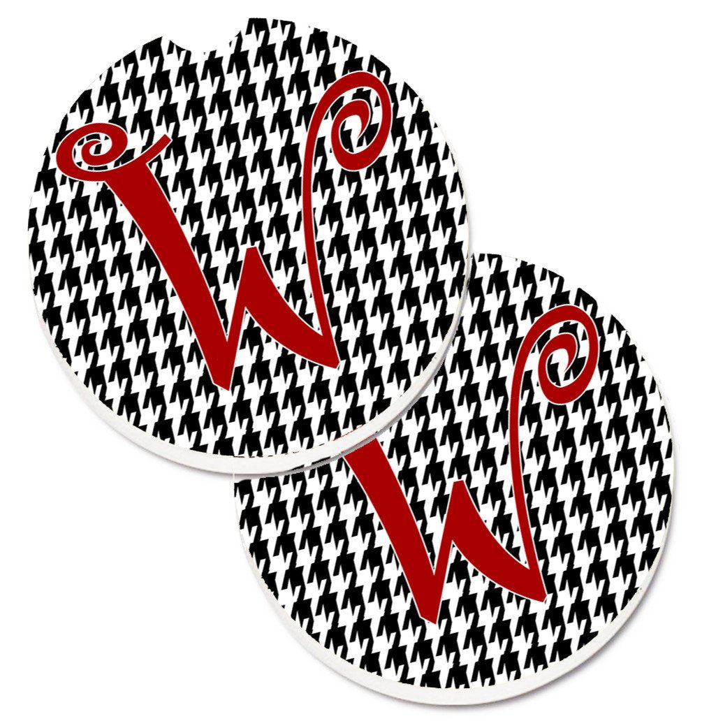 Monogram Initial W Houndstooth Black  Set of 2 Cup Holder Car Coasters CJ1035-WCARC by Caroline's Treasures