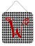 Letter W Initial Monogram - Houndstooth Black Wall or Door Hanging Prints by Caroline's Treasures