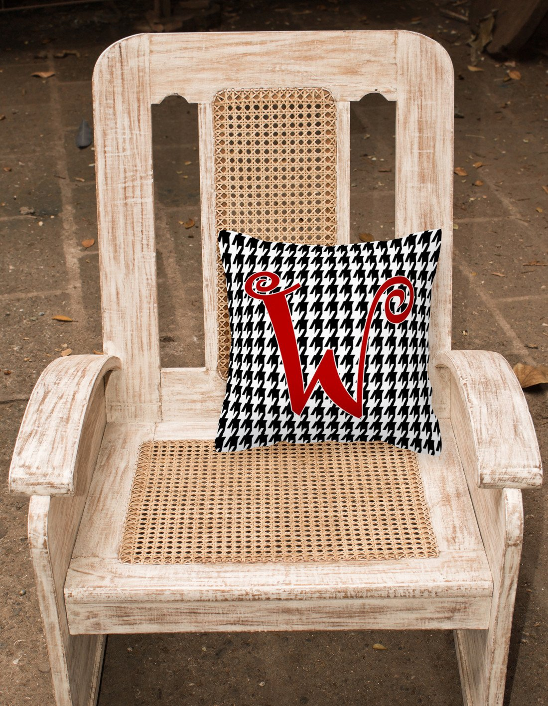 Monogram Initial W Houndstooth Black Decorative   Canvas Fabric Pillow CJ1035 by Caroline's Treasures