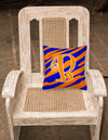 Monogram Initial B Tiger Stripe Blue and Orange Decorative Canvas Fabric Pillow