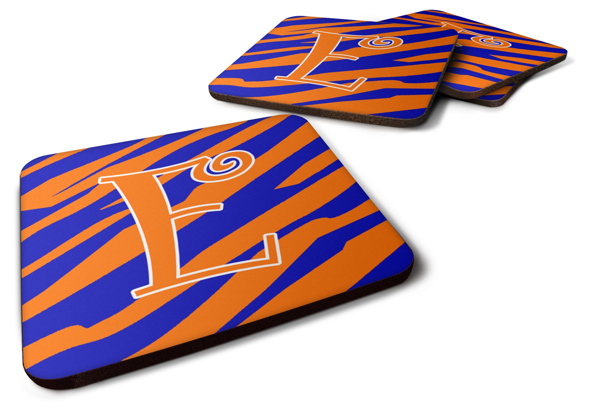 Set of 4 Monogram - Tiger Stripe Blue and Orange Foam Coasters Initial Letter E by Caroline's Treasures