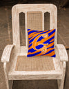 Monogram Initial G Tiger Stripe Blue and Orange Decorative Canvas Fabric Pillow - the-store.com