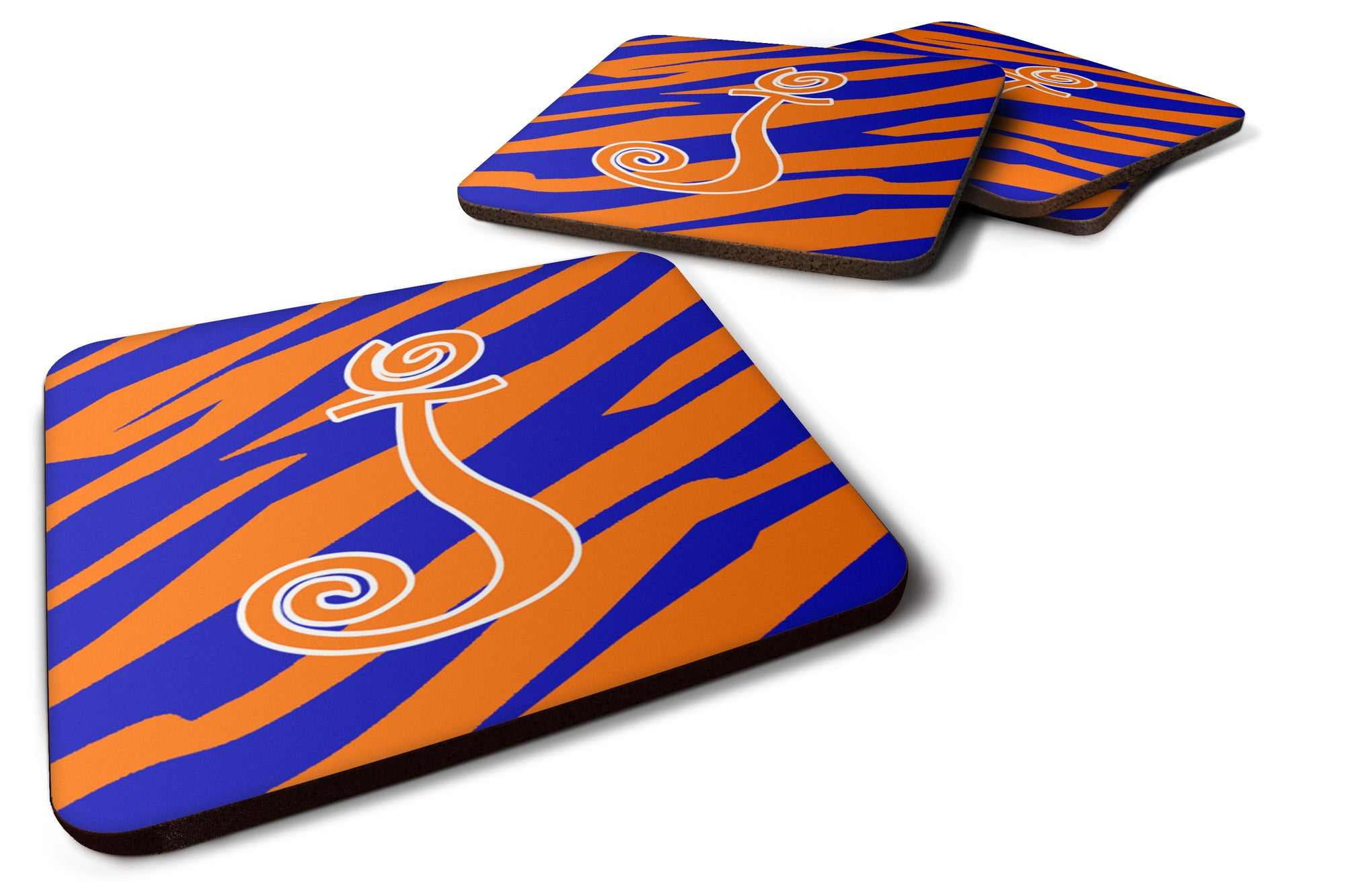 Set of 4 Monogram - Tiger Stripe Blue and Orange Foam Coasters Initial Letter J by Caroline's Treasures