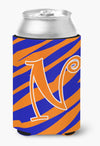 Buy this Letter N Initial Monogram - Tiger Stripe Blue and Orange Can Beverage Insulator Hugger