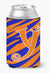 Letter Y Initial Monogram - Tiger Stripe Blue and Orange Can Beverage Insulator Hugger by Caroline's Treasures
