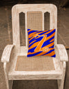 Monogram Initial Z Tiger Stripe Blue and Orange Decorative Canvas Fabric Pillow - the-store.com