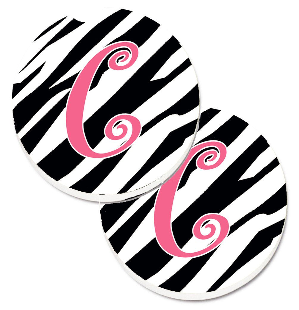 Monogram Initial C  Zebra Stripe and Pink Set of 2 Cup Holder Car Coasters CJ1037-CCARC by Caroline's Treasures