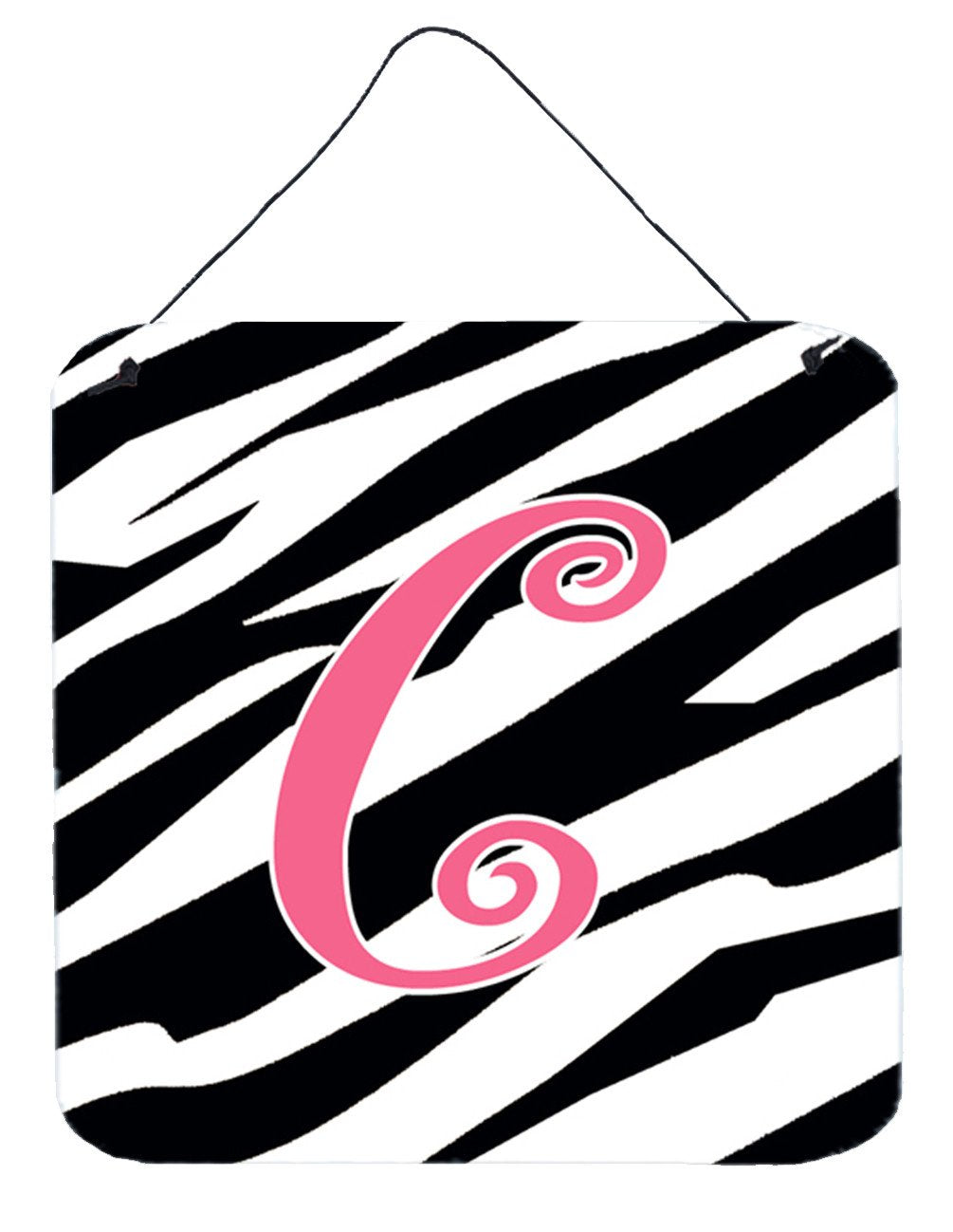 Letter C Initial Zebra Stripe and Pink Wall or Door Hanging Prints by Caroline's Treasures
