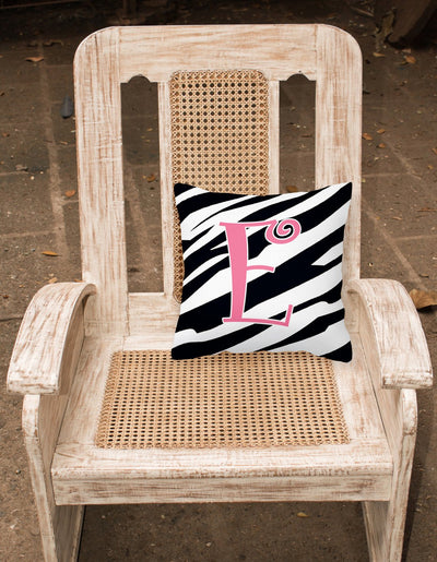 Monogram Initial E Zebra Stripe and Pink Decorative Canvas Fabric Pillow CJ1037