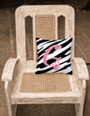 Monogram Initial G Zebra Stripe and Pink Decorative Canvas Fabric Pillow CJ1037 - the-store.com
