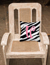 Monogram Initial H Zebra Stripe and Pink Decorative Canvas Fabric Pillow CJ1037 - the-store.com