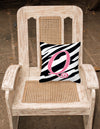 Monogram Initial Q Zebra Stripe and Pink Decorative Canvas Fabric Pillow CJ1037 - the-store.com
