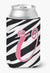 Letter U Initial Monogram - Zebra Stripe and Pink Can or Bottle Beverage Insulator Hugger by Caroline's Treasures