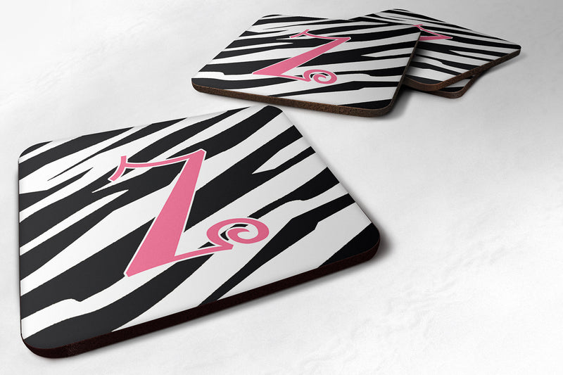 Buy this Set of 4 Monogram - Zebra Stripe and Pink Foam Coasters Initial Letter Z
