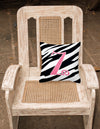 Monogram Initial Z Zebra Stripe and Pink Decorative Canvas Fabric Pillow CJ1037