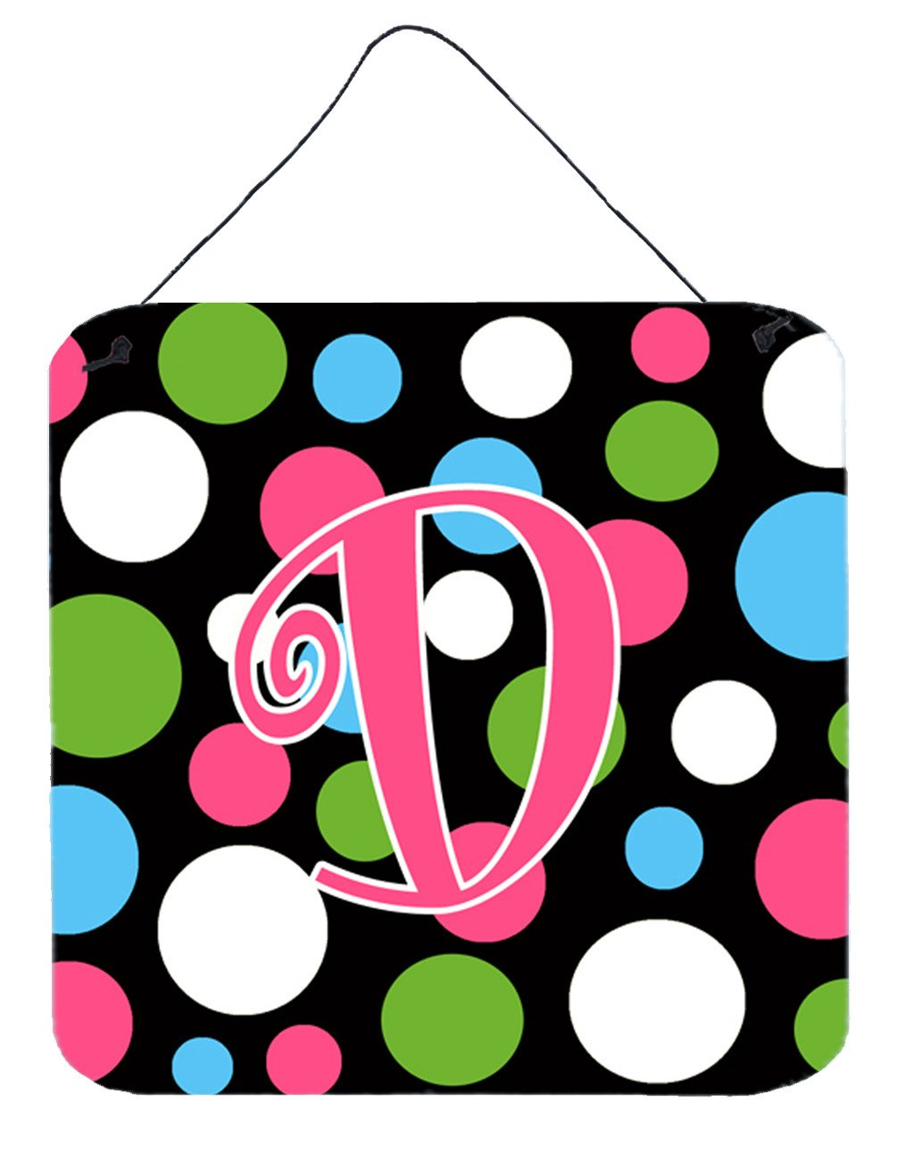 Letter D Initial Monogram - Polkadots and Pink Wall or Door Hanging Prints by Caroline's Treasures