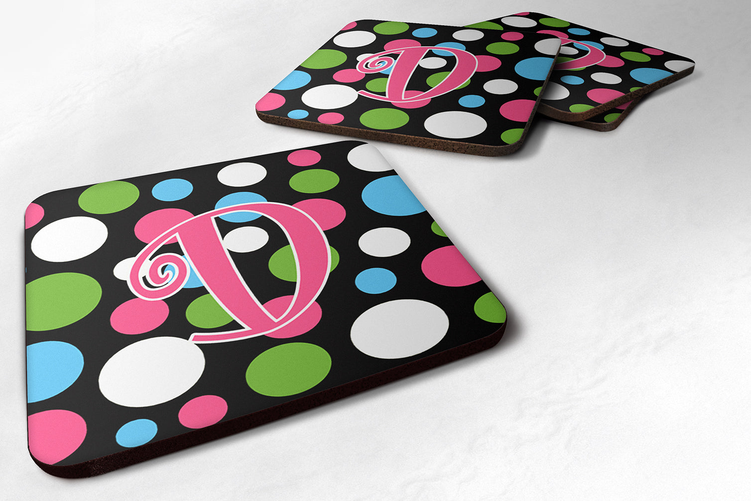 Set of 4 Monogram - Polkadots and Pink Foam Coasters Initial Letter D by Caroline's Treasures