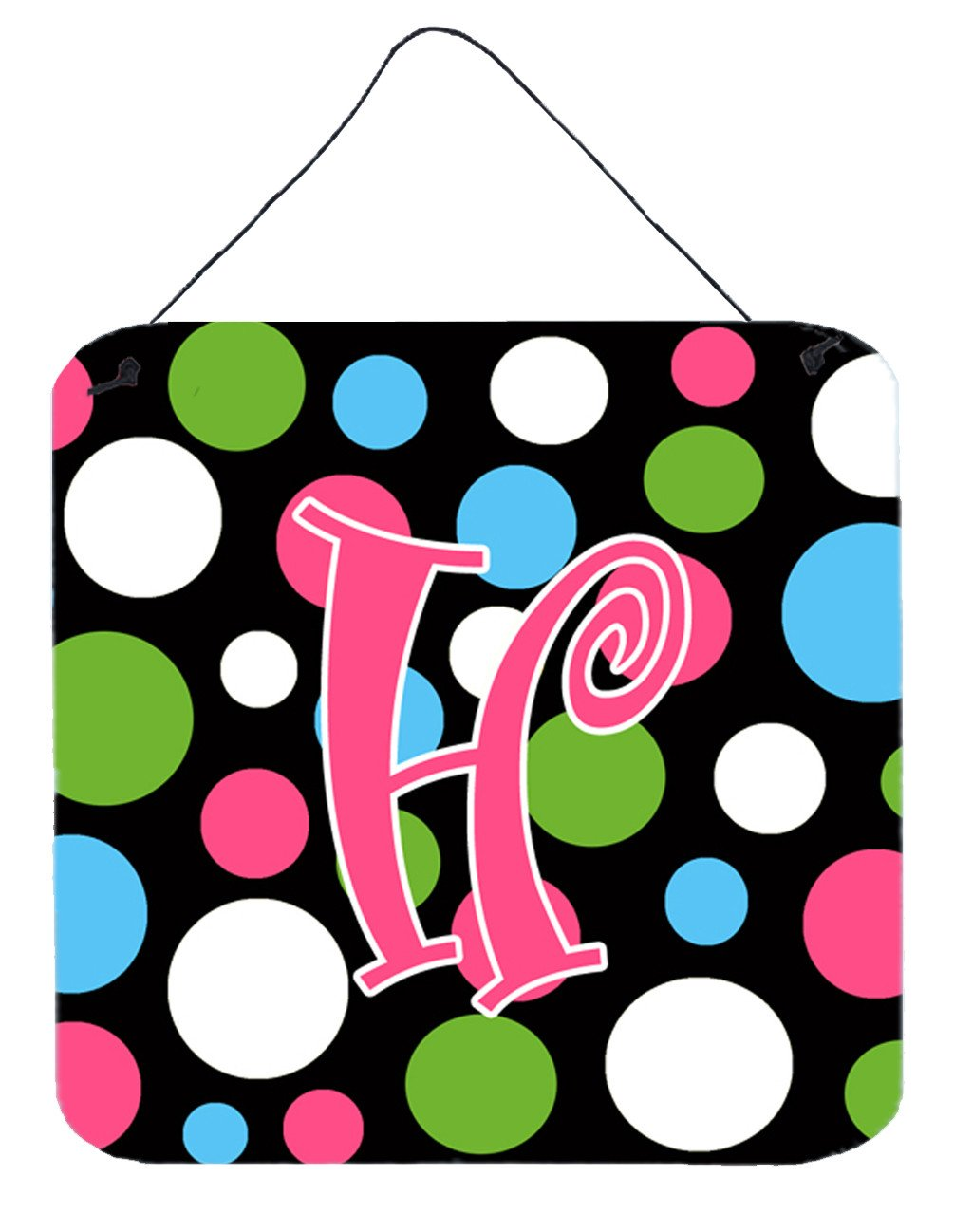 Letter H Initial Monogram - Polkadots and Pink Wall or Door Hanging Prints by Caroline's Treasures