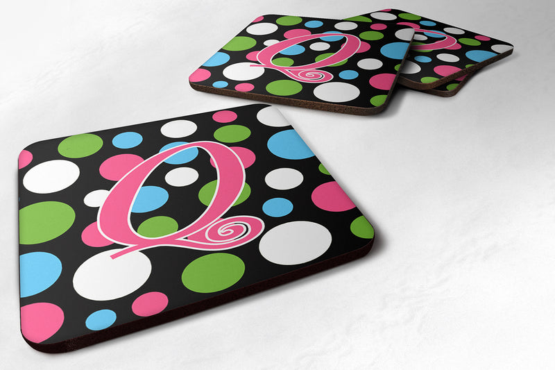 Buy this Set of 4 Monogram - Polkadots and Pink Foam Coasters Initial Letter Q