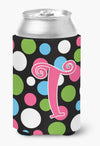 Buy this Letter T Initial Monogram - Polkadots and Pink Can or Bottle Beverage Insulator Hugger