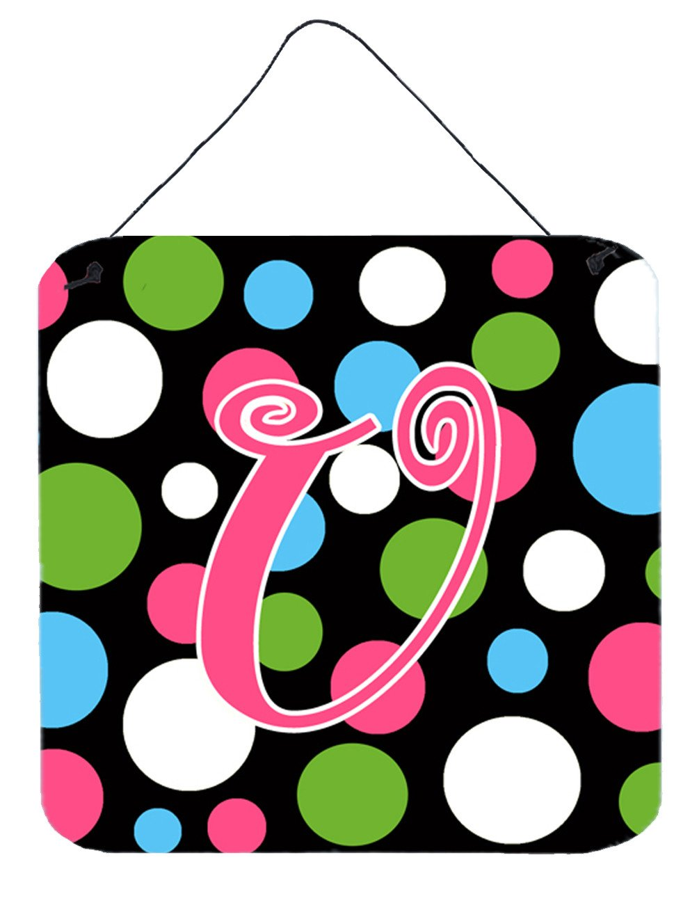 Letter U Initial Monogram - Polkadots and Pink Wall or Door Hanging Prints by Caroline's Treasures