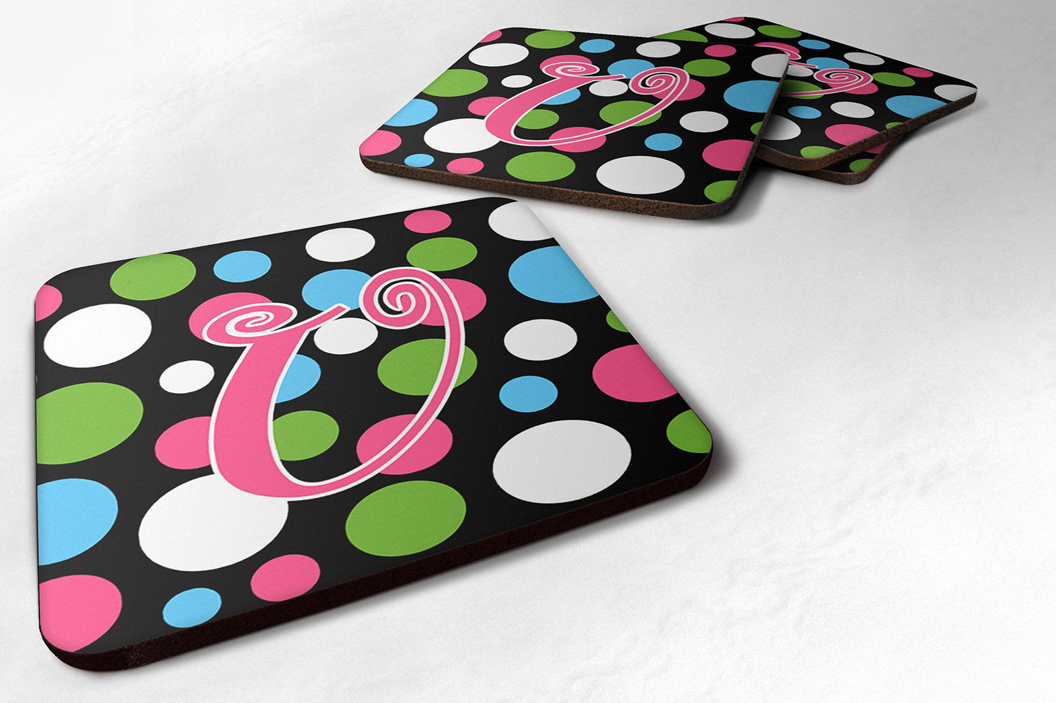 Set of 4 Monogram - Polkadots and Pink Foam Coasters Initial Letter U by Caroline's Treasures