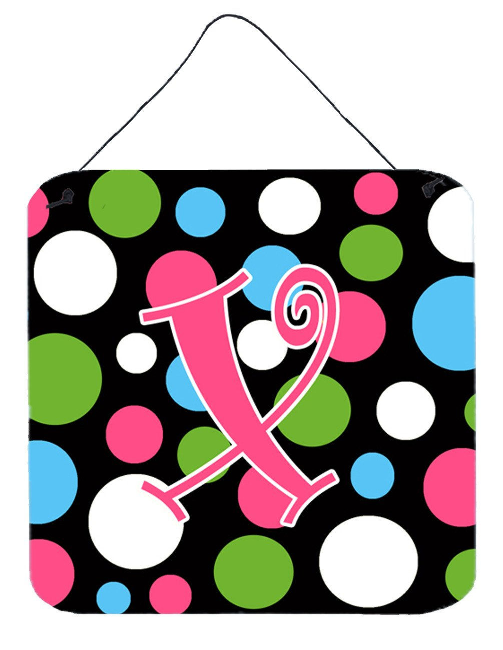 Buy this Letter X Initial Monogram - Polkadots and Pink Wall or Door Hanging Prints