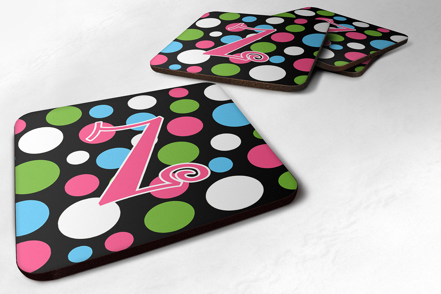 Buy this Set of 4 Monogram - Polkadots and Pink Foam Coasters Initial Letter Z