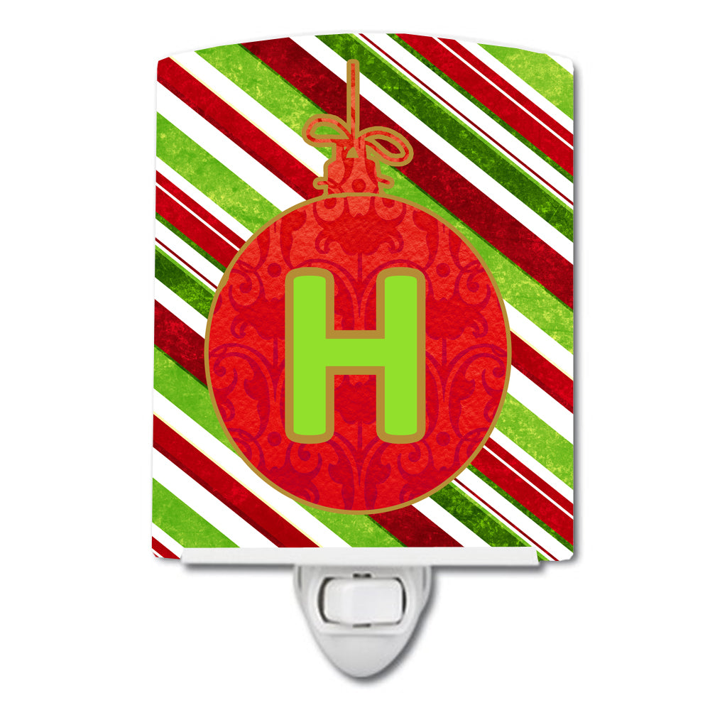 Christmas Oranment Holiday Initial Letter H Ceramic Night Light CJ1039-HCNL by Caroline's Treasures