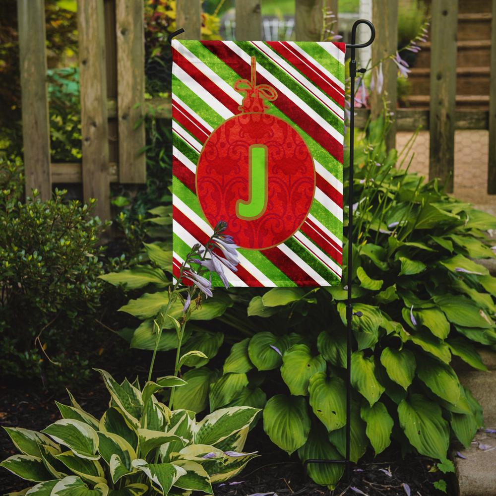 Christmas Oranment Holiday Letter J Monogram Initial Flag Garden Size CJ1039 by Caroline's Treasures