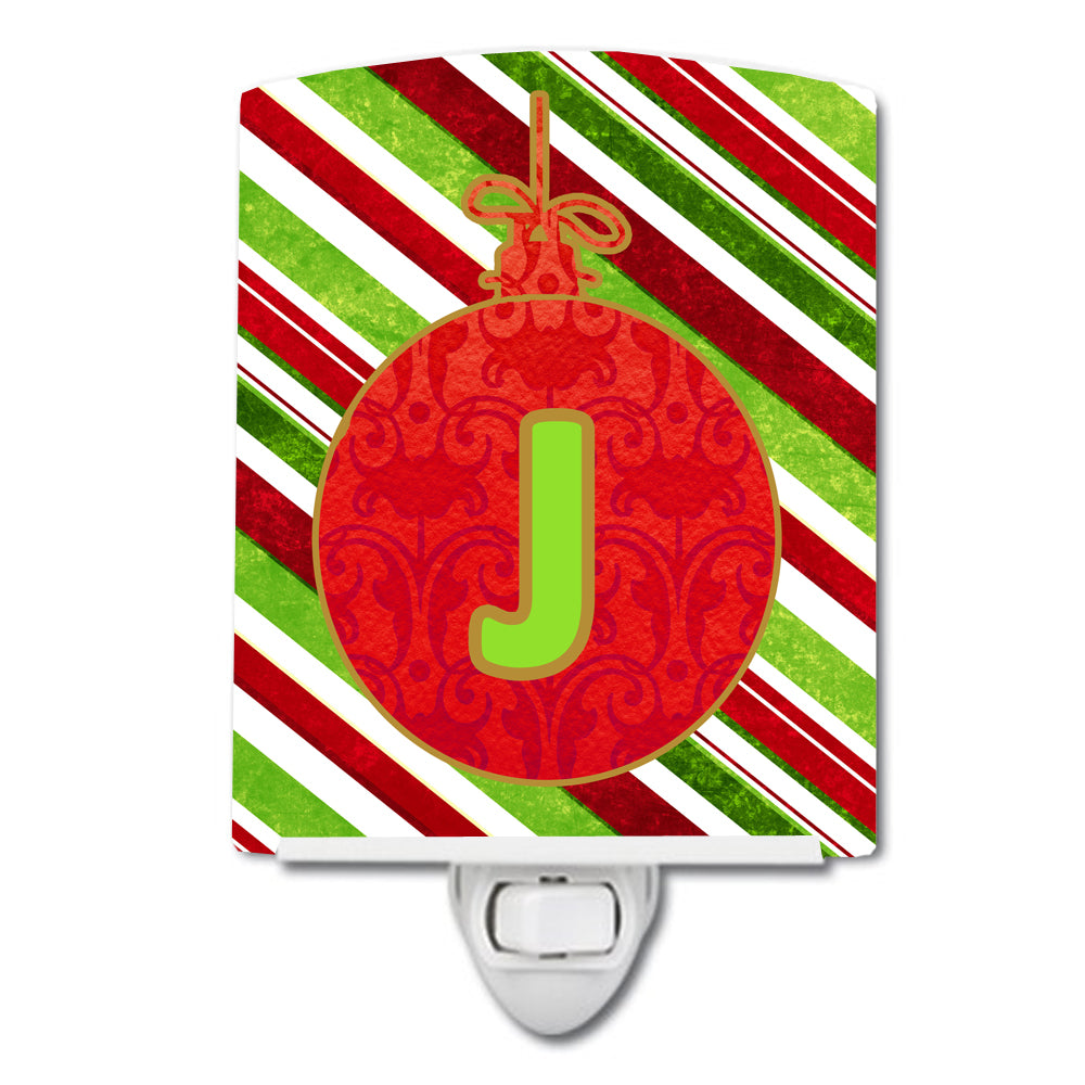 Christmas Oranment Holiday Initial Letter J Ceramic Night Light CJ1039-JCNL by Caroline's Treasures