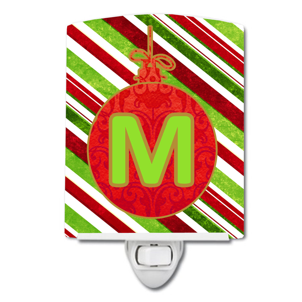 Christmas Oranment Holiday Initial Letter M Ceramic Night Light CJ1039-MCNL by Caroline's Treasures