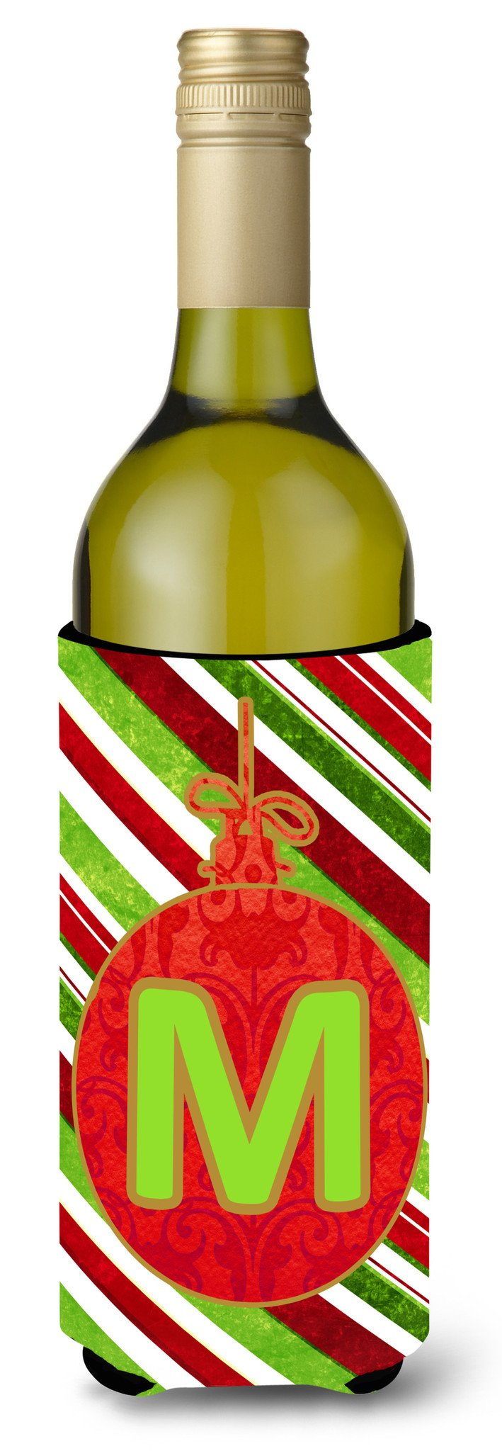 Christmas Oranment Holiday Initial  Letter M Wine Bottle Beverage Insulator Beverage Insulator Hugger by Caroline's Treasures