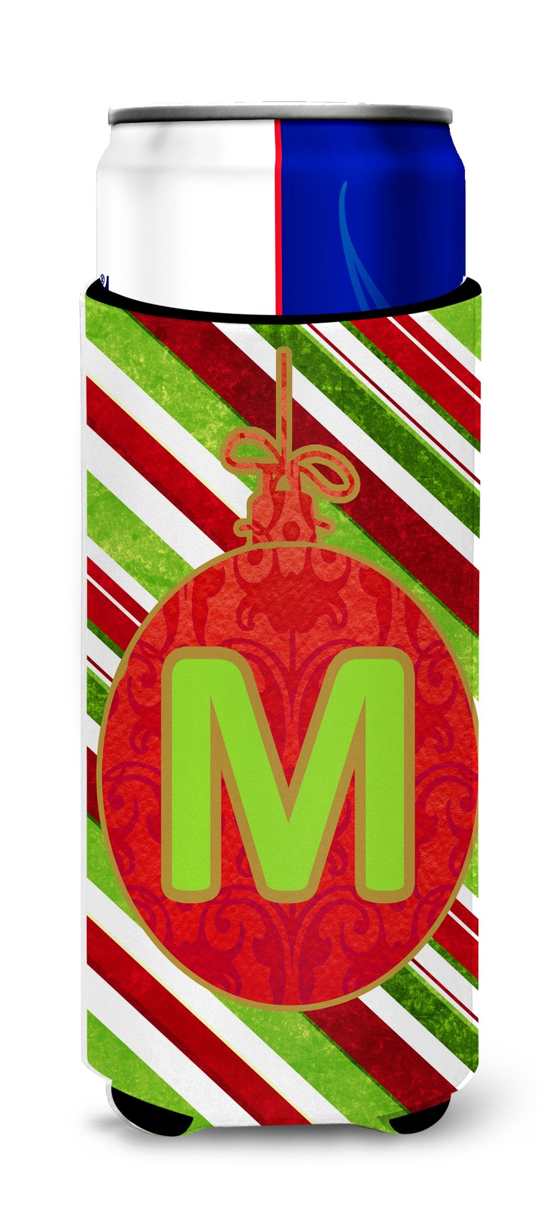 Christmas Oranment Holiday Monogram Initial Letter M Ultra Beverage Insulators for slim cans CJ1039-MMUK by Caroline's Treasures