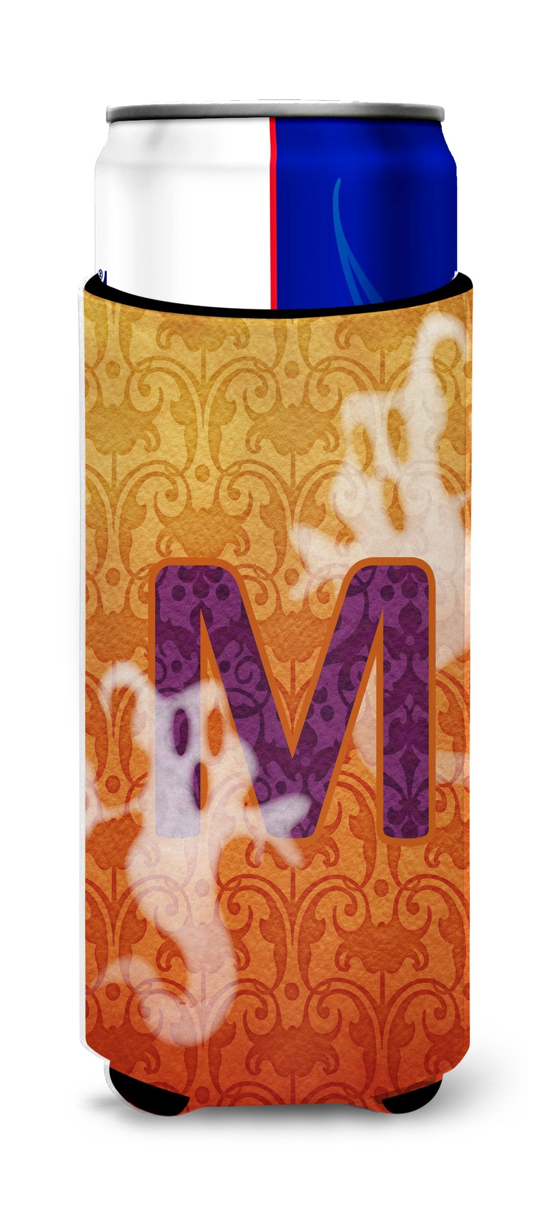 Halloween Ghosts Monogram Initial Letter M Ultra Beverage Insulators for slim cans CJ1040-MMUK by Caroline's Treasures