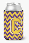 Letter C Chevron Purple and Gold  Can or Bottle Hugger CJ1041-CCC by Caroline's Treasures