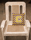 Letter C Chevron Purple and Gold  Fabric Decorative Pillow CJ1041-CPW1414 - the-store.com