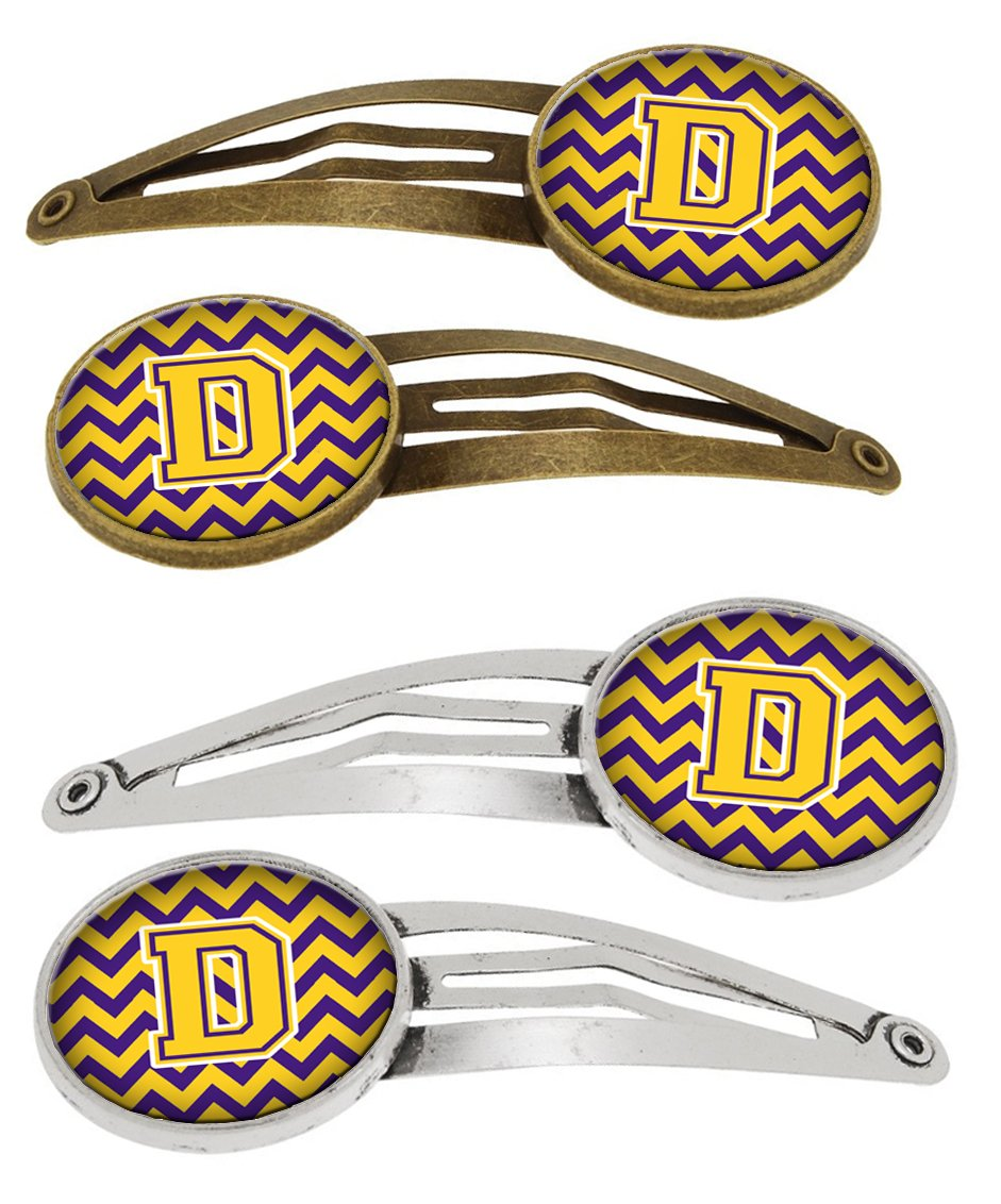 Letter D Chevron Purple and Gold Set of 4 Barrettes Hair Clips CJ1041-DHCS4 by Caroline's Treasures