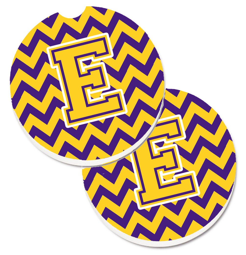Letter E Chevron Purple and Gold Set of 2 Cup Holder Car Coasters CJ1041-ECARC by Caroline's Treasures