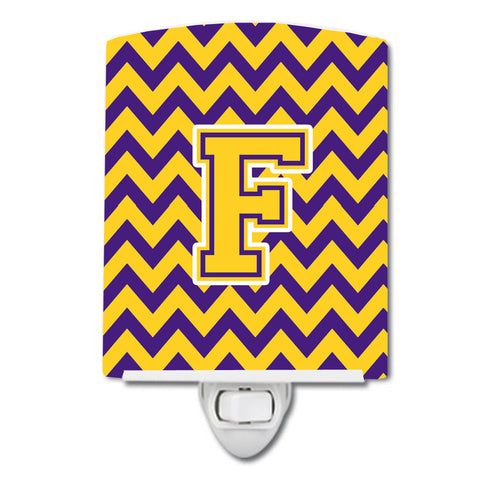 Buy this Letter F Chevron Purple and Gold Ceramic Night Light CJ1041-FCNL