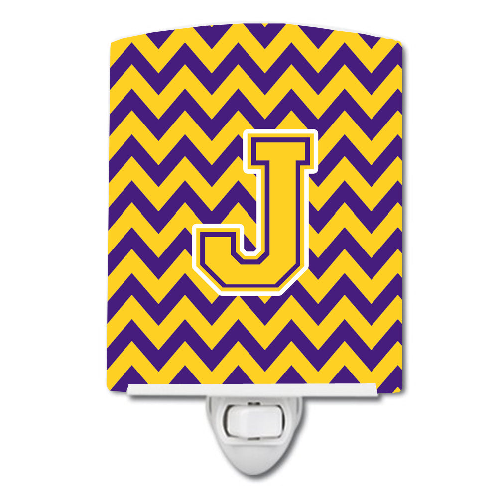 Letter J Chevron Purple and Gold Ceramic Night Light CJ1041-JCNL by Caroline's Treasures