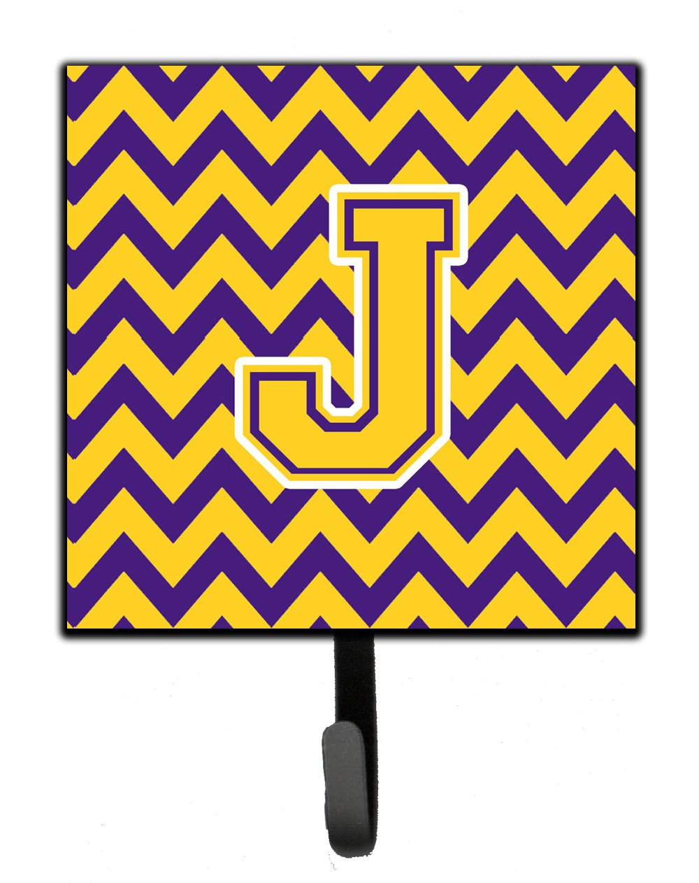 Letter J Chevron Purple and Gold Leash or Key Holder by Caroline's Treasures