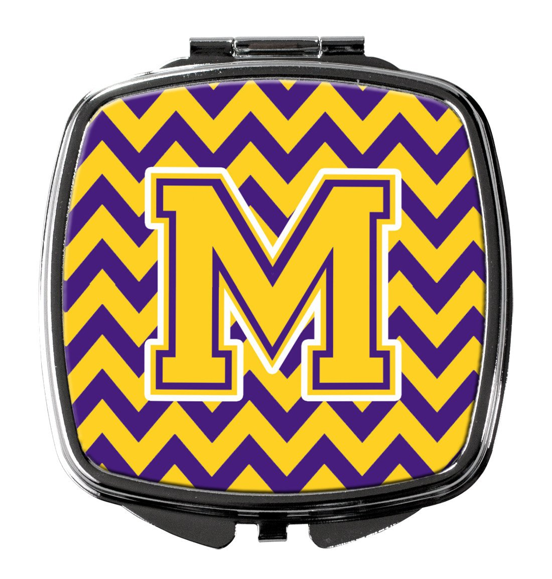 Letter M Chevron Purple and Gold Compact Mirror CJ1041-MSCM by Caroline's Treasures
